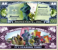 Novelty Money 25 Bills Animation Movies Set Monsters Inc Aladdin Lion King Frozen And Disney Images, Walt Disney Pictures, Disney Art, Disney Monsters, Monsters Inc, Computer Animation, Animation Movies, Disney Money, Disney Movie Characters
