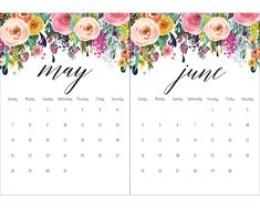 Free Printable 2017 Floral 5×7 Calendar