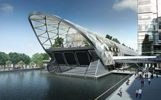 proposed cross-rail station for canary wharf, looks rather like a disco cigarette holder