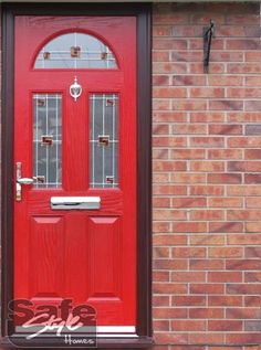 Awesome red composite door! & 4 Panel Sunburst Red Composite Front Door | UK Composite Front ... Pezcame.Com