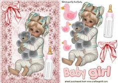 Cute Baby Girl sitting with her cuddly toy and bottle on Craftsuprint - Add To Basket!