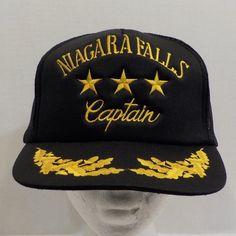 Vintage Niagara Falls Captain Snapback Baseball Truckers Hat Cap Black by LouisandRileys on Etsy