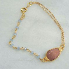 New!  Pink Druzy & Baby Blue Chalcedony 24K Filled Gold Chain, Loving The Color Combo!