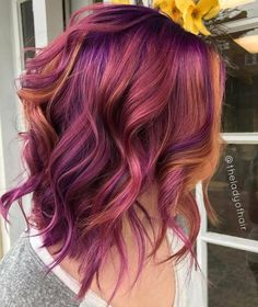 Related image colorful hair hair, purple hair и dyed hair Ombre Hair Color, Cool Hair Color, Red Purple Hair, 2 Tone Hair Color, Cabelo Ombre Hair, Crazy Hair, Fall Hair, Hair Today, Pretty Hairstyles