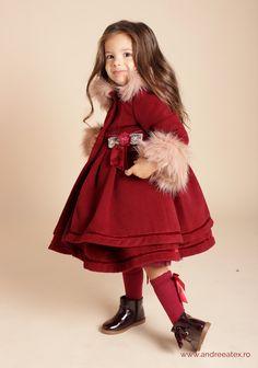 Paltonas fete Paltonaș Antoinette (1-2-3 ani) - burgundy 4 Years, Romania, Fur Coat, Burgundy, Winter, Baby, Jackets, Fashion, Atelier