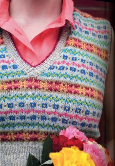 Fair Isle Rib Tank Top by Anna Wilkinson from her book LEARN TO KNIT, LOVE TO KNIT, available at Gather.