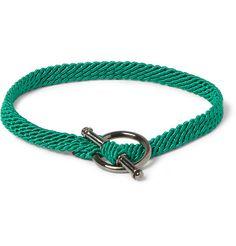 Yuvi Silver and Woven Cord Bracelet   MR PORTER