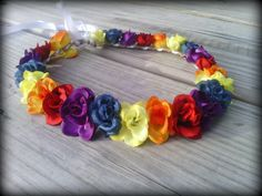 New to dieselboutique on Etsy: rainbow Rose crown headband Flower colorful Halo Festival Coachella stagecoach edm rave summer hipster grunge hippie boho (22.99 USD)
