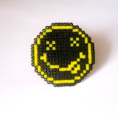 Nirvana Smiley Face logo in Hama Beads  Brooch by Regalopia, €3.95