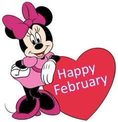 Minnie with Happy February heart Minnie Mouse Pics, Minnie Mouse Drawing, Minnie Mouse Clipart, Minnie Mouse Clubhouse, Mickey Mouse Pictures, Minnie Png, Mickey Mouse Wallpaper, Mickey Mouse Cartoon, Mickey Mouse And Friends