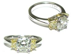 Custom Cushion Cut Diamond Engagement Ring with two Natural Fancy Intense Yellow Diamonds. Made in Platinum. #imagesjewelers #customjewelry #engagementring #diamond