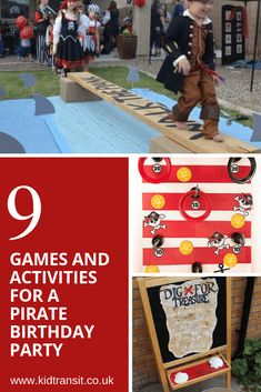 9 party games and activities for a pirate theme first birthday party Pirate Games For Kids, Pirate Party Games, Pirate Theme, Birthday Activities, Birthday Party Games, First Birthday Parties, First Birthdays, Pirate Birthday Cake, Baby Birthday