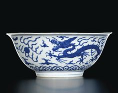 A FINE AND LARGE BLUE AND WHITE 'DRAGON' BOWL MARK AND PERIOD OF JIAJING - Sotheby's