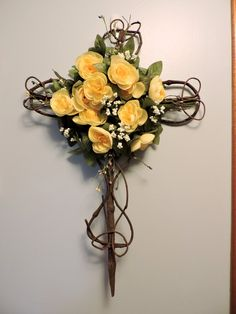 Grapevine Cross with Yellow Flowers - 18 x 26 by AndisNatural on Etsy
