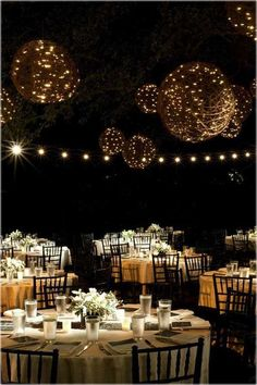 Outdoor Wedding Decorating Ideas for Your Best Moment in Life ...   these orbs could be made using twine and paper mache around large balloons and then using small string lights acquired from after-Christmas sales. Wedding Night, Outdoor Wedding Reception, Wedding Reception Decorations, Rustic Wedding, Wedding Bells, Reception Ideas, Event Ideas, Outdoor Decorations, Evening Wedding Decor