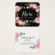 Nails Salon Nail Technician Romantic Floral Wrap B Square Business Card