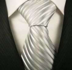 Silver Striped Mens Designer Necktie, Discount Ties for Men, Gift Ideas, Neck Ties for Mens, Mens Birthday Gifts