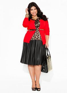 Ashley Stewart's Faux Pleated Leather Skirt