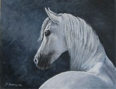 Equine Art White Horse by Della Burgus , painting by artist Art Helping Animals