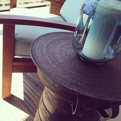 Perfect day for setting up this @shangrilato outdoor space Love this frog drum table!