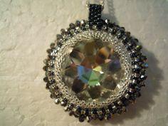 glass and hematit pendant