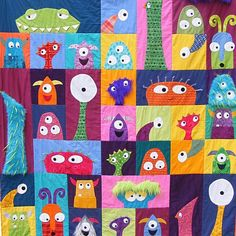 Scary Squares monster quilt pattern! Oh my gosh!!!! I've gotta make this!!! For...uuummmm the kids, yeah the kids haha!