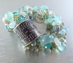 Anne Choi Quote Bead Wire Wrapped Bracelet -  Apatite, Labradorite, Moonstones and Chalcedony ~ The Cure