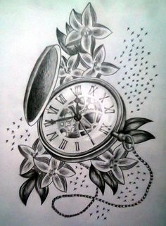 Black Ink Pocket Watch With Flowers Tattoo Design