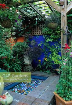 Moroccan style garden with blue painted wall, mosaic pool, brick paviors, Loggia, Canopy, Sweet peas on obelisk in container Brighton, Sussex