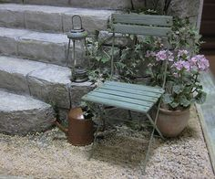 Miniature scene with folding chair, flowers and a lantern. Dollhouse & Miniature ROSY, Yukari Miyazaki