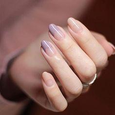 YUNAI Round Head Fake Nails for Women/Girl French Manicure All Match Light Purple #NailPolishDecorationProducts