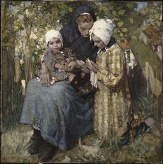 William Lee-Hankey (British, Knitting Lesson 1914 Jules Breton (French Realist Painter, A Peasant Girl Kni. Pictures Of People, Art Pictures, Art Du Fil, Knit Art, Miniature Quilts, Knitting Quotes, Classic Paintings, Sewing Art, Illustrations