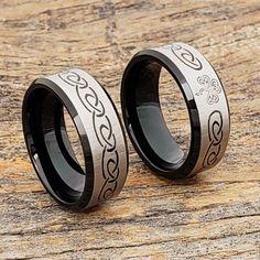 Shamrock Black Signet Rings Celtic Wedding Bands, Wedding Rings, Black Tungsten Rings, St Pats, Tungsten Carbide, Signet Ring, Black Rings, Rings For Men, Take That