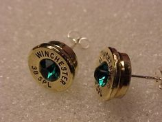 38 Special Bullet Casing Sterling Silver Earrings With Swarovski Crystals Free Shipping to US