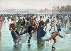 Cold winters fueled ice skating boom of and early centuries (Photos and prints) Pintura Exterior, Skate Party, Ice Skaters, Vintage Art Prints, Vintage Artwork, Vintage Images, Vintage Posters, Vintage Winter, Vintage Ski