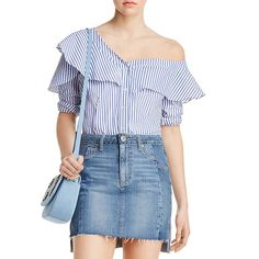 10 Best One Shoulder Tops - #2 Bardot Ruffle and Frill Shirt #rankandstyle