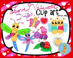 Valentine clip art - Love Bugs Theme by Smart as a Fox Designs  ♥This collection contains 34 clip art pieces: 17 vividly colored images and 17 black and white (lineart) images.   All clip art is saved in 300 ppi PNG file for perfect resizing and comes with a  transparent background to ensure that this artwork can be used on any Valentine's Day Project - Personal or Commercial!  Click the image above to see more Love Bugs! ;)