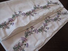 purple flowers embroidered pillowcases, DMC cotton perle no. 8, 444, 208, 209, 890