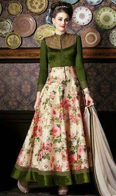 Green and Cream Color Silk Long Anarkali Suit