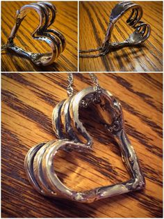 This heart pendant is hand crafted from a sterling silver cocktail fork. {strong enough to bend metal} Silver Spoon Jewelry, Fork Jewelry, Silver Cutlery, Metal Jewelry, Silver Spoons, Jewelry Crafts, Jewelry Art, Fork Crafts, Metalarte