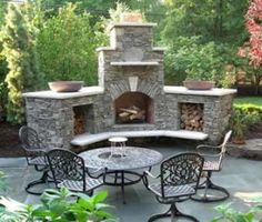 I love this outdoor fire place idea! Great for summer and fall nights!