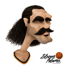 Caricature of Steven Adams. Illustration created in Photoshop.