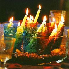 Candles in coloured glasses