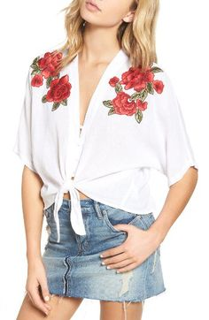 Rails Rails Thea Embroidered Tie Front Crop Top available at #Nordstrom