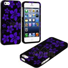 Amazon.com: myLife (TM) Purple + Black Tropical Flowers Series (2 Piece Snap On) Hardshell Plates Case for the iPhone 5/5S (5G) 5th Generati...