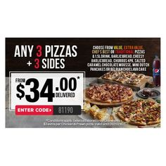 from $34 Any 3 Pizzas + 3 Sides @ Domino`s Pizza - Bargain Bro