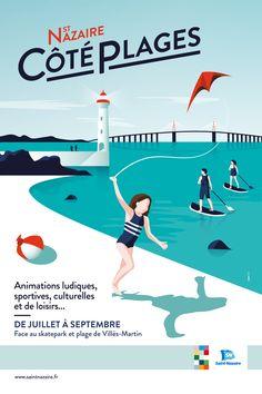 MOSWO | Ville de Saint-nazaire | Affiche | tourisme | pont | phare | typographie | bord de mer | cerf-volant | graphisme | bleu | ombre