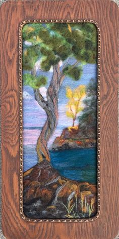 Witch's Tree Lake Superior. Needle felted in an antique oak frame