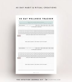 {INTUITION JOURNAL KIT} Create powerful rituals and habits with the 40 Day strategy. 40 Days is a sacred number and allows your body to reset and ground into a new habit - whether it is for eating healthier, sleeping better, finding a beautiful yoga practice or meditation ritual. With 30 designed templates and ritual creation sheets, this is a personalised cocktail made up of one part planner, one part journal and a lot of heart. Purchase it now @ www.jochunyan.com