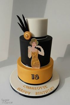 Gatsby theme cake flapper girl cake 1920's theme cake black gold cake by Sugar & Spice Gourmandise Gifts https://www.facebook.com/SugarandSpiceGourmandise